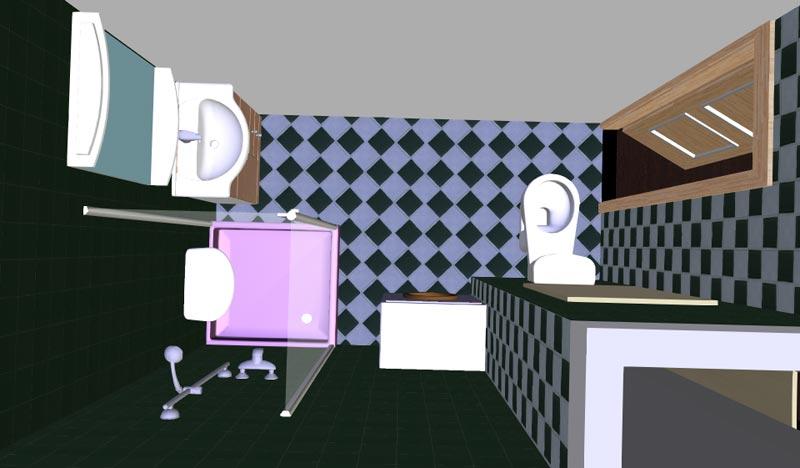 Varianta původní jádro průchozí koupelna a wc nová varianta